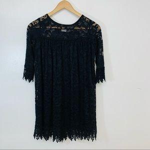 Chasing Fireflies Girls Black Lace Fringe Dress Large 10-12  Black Lace Floral